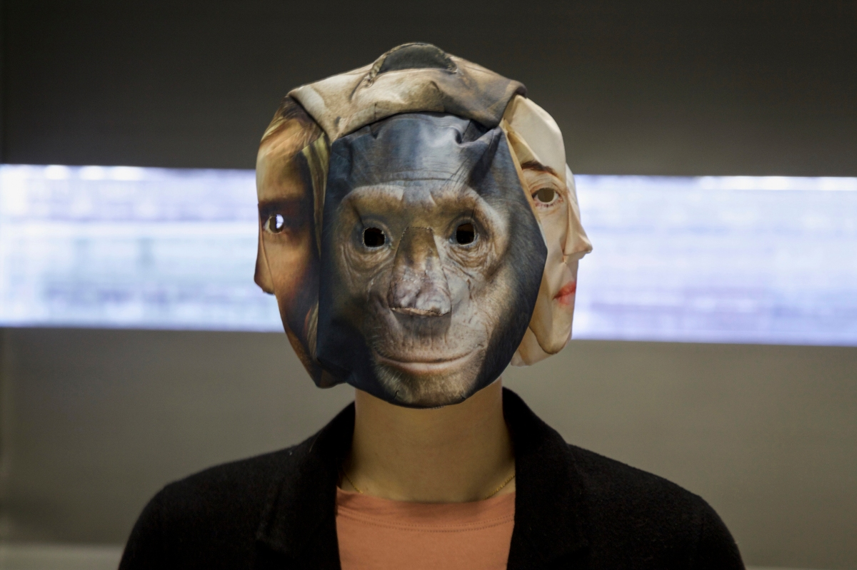 a handmade textile mask for the teaser of the head transplantation