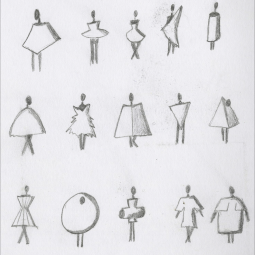 beginning sketches fabout geometrical forms around the body